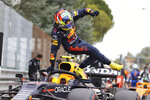 Red Bull driver Sergio Perez of Mexico leaves his car after clocking the second fastest time during qualifying practice for Sunday's Emilia Romagna Formula One Grand Prix, at the Imola track, Italy, Saturday, April 17, 2021. (Bryn Lennon/Pool photo via AP)