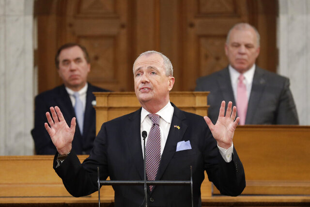 New Jersey Gov. Phil Murphy speaks during his budget address in Trenton, N.J., Tuesday, Feb. 25, 2020. Murphy unveiled a $40.9 billion budget for fiscal year 2021 on Tuesday, proposing boosting overall spending by more than 5% compared with the plan he put forward last year and once again raising marginal income tax rates on the wealthy. (AP Photo/Seth Wenig)