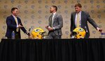 Green Bay Packers General Manager Brian Gutekunst shakes hands with head coach Matt LaFleur at a news conference Wednesday, Jan. 9, 2019, in Green Bay, Wis. (AP Photo/Morry Gash)