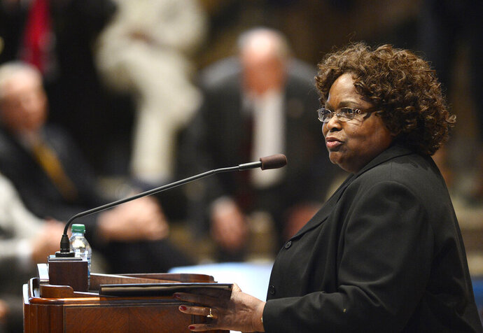 In this April 9, 2013, photo, Chief Justice Bernette Johnson of the Louisiana Supreme Court speaks in Baton Rouge, La., to a joint session of the Legislature. An October 2020 parole hearing has been set for a Black man sentenced to life in prison after stealing hedge clippers in a 1997 burglary, a sentence Louisiana's Supreme Court upheld despite Johnson's insistence that the punishment was excessive and rooted in racist law. (Arthur D. Lauck/The Advocate via AP)