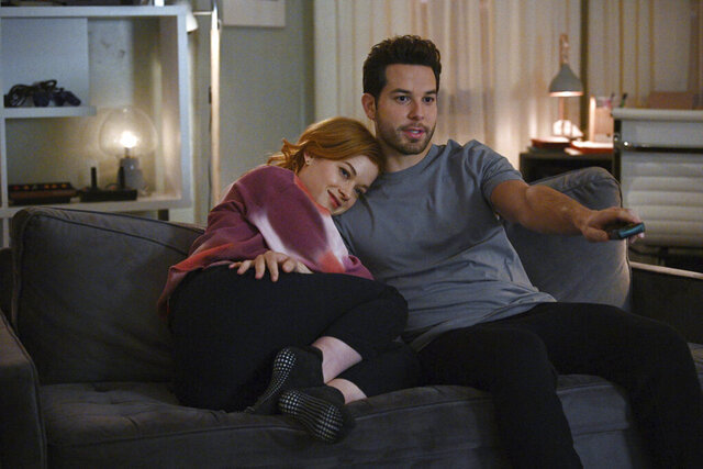 This image released by NBC shows Jane Levy, left, and Skylar Astin in a scene from