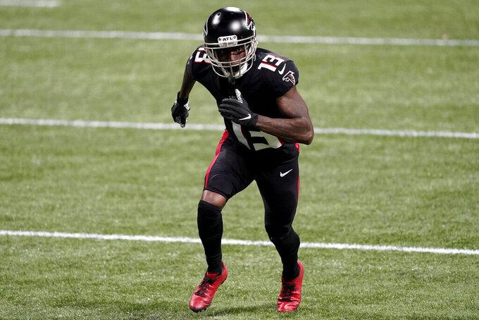 Atlanta Falcons wide receiver Christian Blake (13) runs a route against the Las Vegas Raiders during the second half of an NFL football game, Sunday, Nov. 29, 2020, in Atlanta. (AP Photo/John Bazemore)