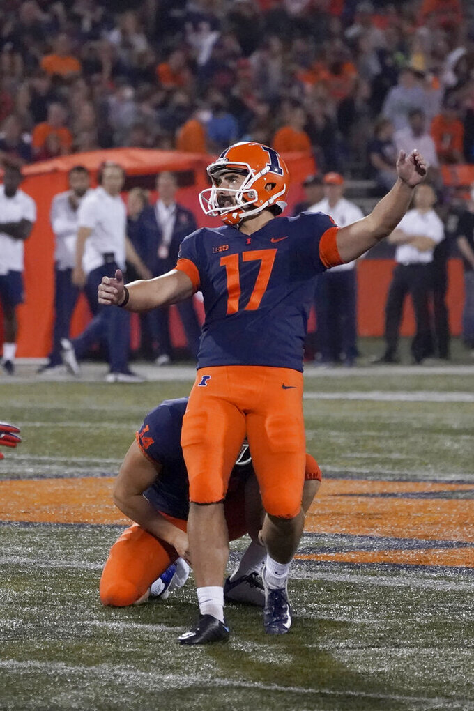 Illinois place kicker James McCourt watches his 53-yard field goal during the second half of an NCAA college football game against UTSA, Saturday, Sept. 4, 2021, in Champaign, Ill. (AP Photo/Charles Rex Arbogast)