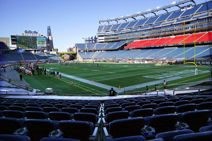 The New England Patriots play the Arizona Cardinals in the first half of an NFL football game in an empty Gillette Stadium during the coronavirus pandemic, Sunday, Nov. 29, 2020, in Foxborough, Mass. (AP Photo/Charles Krupa)