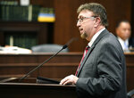 FILE - In this Feb. 28, 2018 file photo, Rep. David Byrd speaks about a bill he is sponsoring that will allow school employees to carry guns at the Cordell Hull Building in Nashville, Tenn. News outlets reported that three women had accused the Republican of sexual misconduct when he was their high school basketball coach several decades ago. Two women alleged Byrd inappropriately touched them. The third said Byrd tried to. Byrd has not outright denied the allegations, but has said he's truly sorry if he hurt or emotionally upset any of his students. He did not step down; in fact, he was reelected. (George Walker IV/The Tennessean via AP, File)/The Tennessean via AP)
