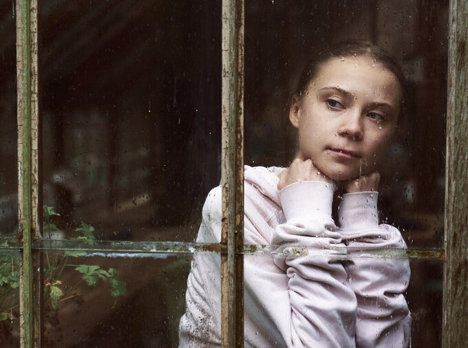"""This image released by PBS shows Greta Thunberg, the subject of the docuseries """"Greta Thunberg: A Year to Change the World.""""  The three-part series, a co-production between PBS and BBC Studios premieres Thursday. (Alex Board/BBC Studios/PBS via AP)"""