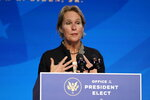 President-elect Joe Biden's nominee to co-chair the President's Council of Advisors on Science and Technology Frances Arnold speaks during an event at The Queen theater, Saturday, Jan. 16, 2021, in Wilmington, Del. (AP Photo/Matt Slocum)