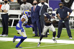 Dallas Cowboys wide receiver Michael Gallup (13) makes a catch but it's called for offensive pass interference on Los Angeles Rams cornerback Jalen Ramsey, left, during the second half of an NFL football game Sunday, Sept. 13, 2020, in Inglewood, Calif. (AP Photo/Jae C. Hong)