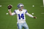 Dallas Cowboys' Andy Dalton (14) throws a pass in the second half of an NFL football game against the Arizona Cardinals in Arlington, Texas, Monday, Oct. 19, 2020. (AP Photo/Michael Ainsworth)