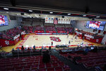 St. John's plays Villanova at a nearly empty Lou Carnesecca Arena during the first half of an NCAA college basketball game Wednesday, Feb. 3, 2021, in New York. (AP Photo/Frank Franklin II)