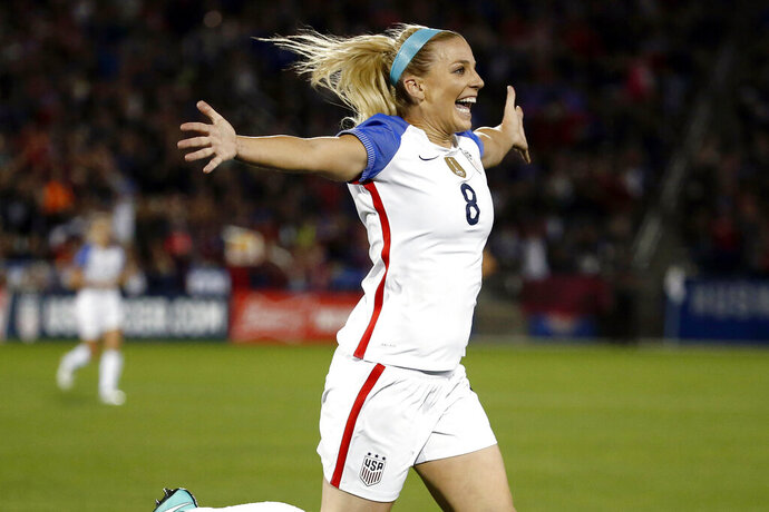 FILE - In this Sept. 15, 2017, file photo, United States defender Julie Ertz (8) celebrates after scoring a goal against New Zealand during the first half of an international friendly soccer match in Commerce City, Colo. Ertz has been named the U.S. Soccer women's Player of the Year on Friday, Dec. 13, 2019, for the second time. Ertz also won the award in 2017 and she won the federation's Young Player of the Year honors in 2012. (AP Photo/Jack Dempsey, File)