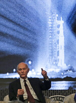 Apollo 11 Astronaut Michael Collins gestures during the JFK Space Summit at the John F. Kennedy Presidential Library in Boston, Wednesday, June 19, 2019. (AP Photo/Charles Krupa)