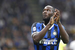 Inter Milan's Romelu Lukaku leaves the field during a Serie A soccer match between Inter Milan and Lazio, at the San Siro stadium in Milan, Italy, Wednesday, Sept. 25, 2019. (AP Photo/Antonio Calanni)