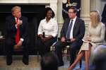 FILE - In this July 25, 2019, file photo, President Donald Trump, from left, joined by Shameka Whaley Green of Toyota, Jim Lentz, CEO of Toyota North America, and his daughter Ivanka Trump speaks during a
