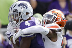 Kansas State wide receiver Malik Knowles (4) catches a pass for a touchdown under pressure from Bowling Green defensive back Jai Nunn-Liddell, right, during the first half of an NCAA college football game Saturday, Sept. 7, 2019, in Manhattan, Kan. (AP Photo/Charlie Riedel)