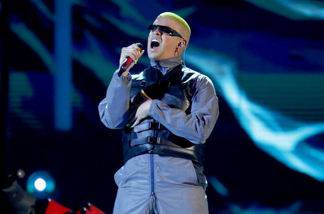 FILE - Bad Bunny performs a medley at the Billboard Latin Music Awards in Las Vegas on April 25, 2019. The Puerto Rican superstar is the music platform's most-streamed artist of the year with 8.3 billion streams globally. The Latin Grammy winner and hitmaker, who released a new album last week, leads a top five list that also includes Drake, J Balvin, Juice WRLD and the Weeknd. (Photo by Eric Jamison/Invision/AP, File)
