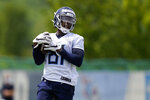 Tennessee Titans wide receiver Racey McMath runs a drill during NFL football rookie minicamp Saturday, May 15, 2021, in Nashville, Tenn. (AP Photo/Mark Humphrey, Pool)
