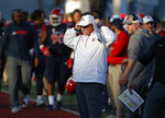 Fresno State head coach Jeff Tedford watches the second half of the Las Vegas Bowl NCAA college football game against Arizona State, Saturday, Dec. 15, 2018, in Las Vegas. (AP Photo/John Locher)