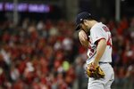 St. Louis Cardinals starting pitcher Dakota Hudson reacts during the first inning of Game 4 of the baseball National League Championship Series against the St. Louis Cardinals Tuesday, Oct. 15, 2019, in Washington. (AP Photo/Jeff Roberson)
