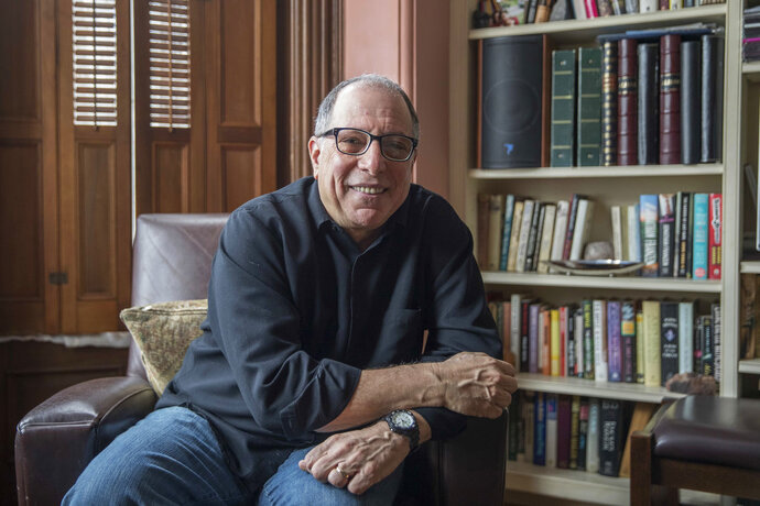 This Saturday, March 10, 2018 photo shows Michael Kimmel at his home in New York. Kimmel is a leader in what's known as