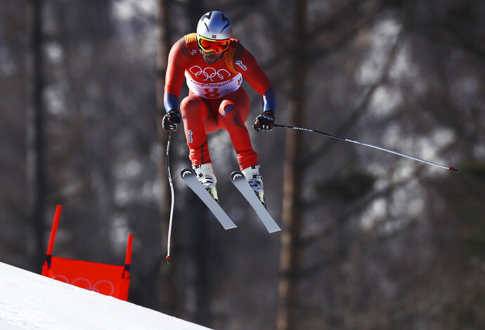 Norway's Aksel LundSvindal skis during the downhill portion of the men's combined at the 2018 Winter Olympics in Jeongseon, South Korea, Tuesday, Feb. 13, 2018. (AP Photo/Alessandro Trovati)