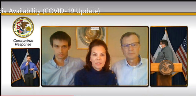 In this screen grab from video in center, from left, Tim Kater, Tina Rubin and Bob Rubin, all of Bloomington, Ill., speak by video link about the COVID-19 related death last month of Danielle