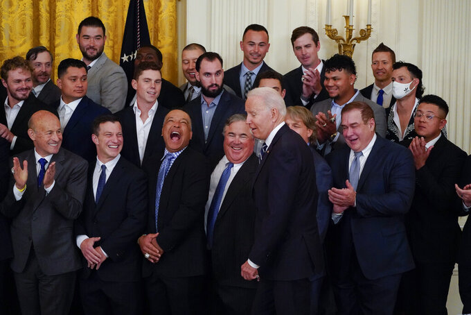 President Joe Biden arrives to speak at an event to honor the 2020 World Series champion Los Angeles Dodgers baseball team at the White House, Friday, July 2, 2021, in Washington. (AP Photo/Julio Cortez)