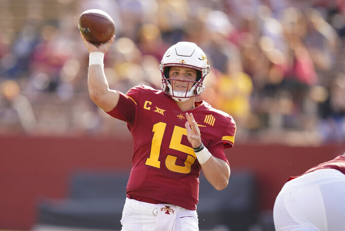 Iowa State quarterback Brock Purdy throws a pass during the first half of an NCAA college football game against Texas Tech, Saturday, Oct. 10, 2020, in Ames, Iowa. (AP Photo/Charlie Neibergall)
