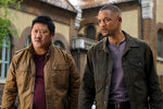This image released by Paramount Pictures shows Benedict Wong, left, and Will Smith in a scene from the Ang Lee film