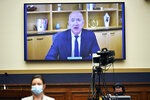 Amazon CEO Jeff Bezos testifies remotely during a House Judiciary subcommittee on antitrust on Capitol Hill on Wednesday, July 29, 2020, in Washington. (Mandel Ngan/Pool via AP)