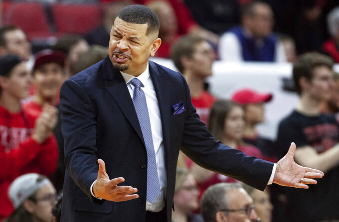 Pittsburgh Head Coach Jeff Capel reacts to a play during the second half of an NCAA college basketball game against North Carolina State in Raleigh, N.C., Saturday, Jan. 12, 2019. (AP Photo/Ben McKeown)