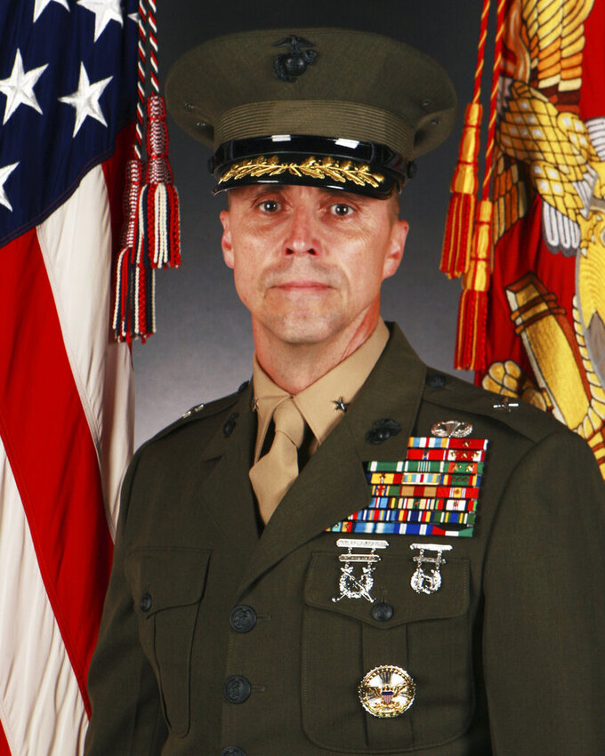 In this July 8, 2013 photo provided by the U.S. Marines Corps, Robert F. Castellvi, who held the rank of Brigadier General at the time the photo was taken, poses for a photo at Marine Corps Base Camp Lejeune in North Carolina. Officials announced Wednesday, June 9, 2021 that Castellvi will be relieved of his duties for failing to properly train Marines and sailors and evaluate the platoon before a training exercise in the summer of 2020 when a seafaring tank sank off the Southern California coast, killing nine troops. (Lance Cpl. Andre Dakis/U.S. Marine Corps via AP)