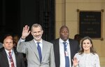 Spain's King Felipe and Queen Letizia greet people after visiting a self-portrait of Spanish painter Francisco de Goya at the Bellas Artes Museum in Old Havana, Cuba, Thursday, Nov. 14, 2019. (AP Photo/Ramon Espinosa, Pool)