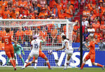 United States' Alex Morgan, 2nd right, attempts a shot at goal during the Women's World Cup final soccer match between US and The Netherlands at the Stade de Lyon in Decines, outside Lyon, France, Sunday, July 7, 2019. (AP Photo/Francisco Seco)