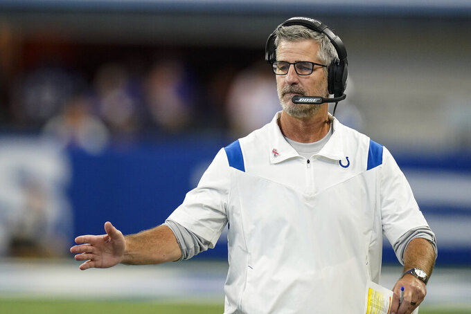 Indianapolis Colts head coach Frank Reich on the sideline in the second half of an NFL football game against the Seattle Seahawks in Indianapolis, Sunday, Sept. 12, 2021. (AP Photo/Charlie Neibergall)