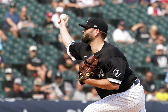 Chicago White Sox starting pitcher Lance Lynn delivers during the first inning of a baseball game against the Minnesota Twins Monday, July 19, 2021, in Chicago. (AP Photo/Charles Rex Arbogast)