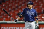 Tampa Bay Rays' Yoshitomo Tsutsugo walks back to the dug out after a pop foul out while pinch hitting during the seventh inning of a baseball game against the Boston Red Sox, Tuesday, Aug. 11, 2020, in Boston. (AP Photo/Michael Dwyer)