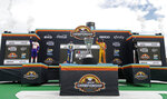 The Championship 4 drivers, from left to right, Denny Hamlin, Chase Elliott, Joey Logano and Brad Keselowski wave to the crowd during driver introductions prior to a NASCAR Cup Series auto race at Phoenix Raceway, Sunday, Nov. 8, 2020, in Avondale, Ariz. (AP Photo/Ralph Freso)