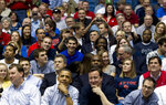 FILE - In this March 13, 2012, file photo, President Barack Obama, center left foreground, and Britain's Prime Minister David Cameron, center right foreground, attend a first round NCAA college basketball tournament game between  Mississippi Valley State and Western Kentucky, in Dayton, Ohio. With growing competition around the country to host NCAA Regionals, local officials want to make sure the First Four stays in Dayton. Toward that end, the University of Dayton is pouring $72 million in upgrades into the 50-year-old arena. The bid process for the next four-year contract will begin later this year. (AP Photo/Carolyn Kaster, File)