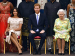 FILE - In this Tuesday, June 26, 2018 file photo Britain's Queen Elizabeth, Prince Harry and Meghan, Duchess of Sussex pose for a group photo at the Queen's Young Leaders Awards Ceremony at Buckingham Palace in London. Prince Harry and Meghan Markle are to no longer use their HRH titles and will repay £2.4 million of taxpayer's money spent on renovating their Berkshire home, Buckingham Palace announced Saturday, Jan. 18. 2020. (John Stillwell/Pool Photo via AP, File)