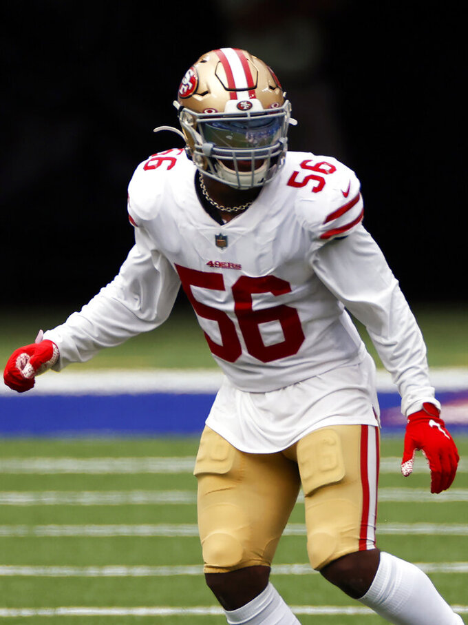 San Francisco 49ers linebacker Kwon Alexander (56) plays against the New York Giants during an NFL football game, Sunday, Sept. 27, 2020, in East Rutherford, N.J. The Saints and 49ers have agreed to a trade sending linebacker Kwon Alexander to New Orleans in exchange for linebacker Kiko Alonso and a conditional fifth-round draft choice. Saints coach Sean Payton, who confirmed the trade on Monday, Nov. 2, 2020, said the draft pick is conditional because it is tied to playing time. (AP Photo/Adam Hunger, File)