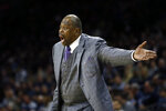 Georgetown head coach Patrick Ewing yells to his team during the first half of an NCAA college basketball game against Villanova, Saturday, Jan. 11, 2020, in Philadelphia. (AP Photo/Matt Slocum)