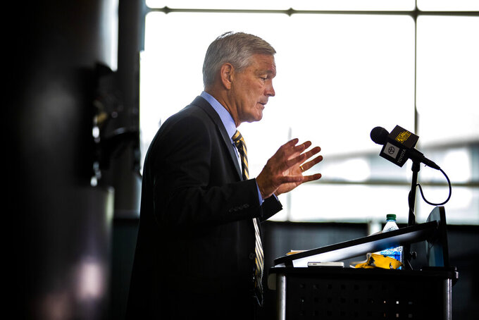 Iowa Football head coach Kirk Ferentz addresses the media during a press conference at Carver-Hawkeye Arena on Thursday, July 30, 2020 in Iowa City, Iowa. Ferentz discussed the Husch Blackwell review of the Iowa football program that investigated racial bias against Black players. (Katina Zentz/The Des Moines Register via AP  )