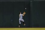 Pittsburgh Pirates center fielder Bryan Reynolds is unable to make a play on a two-run double hit by Arizona Diamondbacks' Josh VanMeter during the seventh inning of a baseball game Tuesday, July 20, 2021, in Phoenix. (AP Photo/Ross D. Franklin)