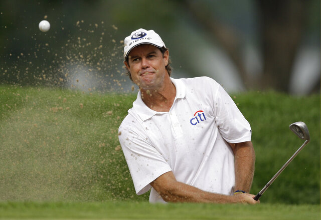 FILE - This Aug. 13, 2009 file photo shows Paul Azinger during the first round of the 91st PGA Championship at the Hazeltine National Golf Club in Chaska, Minn. Azinger says he turned down a chance to replace Ken Venturi at CBS after he won the Sony Open 20 years ago.(AP Photo/Charles Neibergall, File)