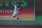 New York Yankees right fielder Aaron Judge cannot catch a ball hit by Washington Nationals' Starlin Castro for a triple during the first inning of a baseball game at Nationals Park, Saturday, July 25, 2020, in Washington. (AP Photo/Alex Brandon)