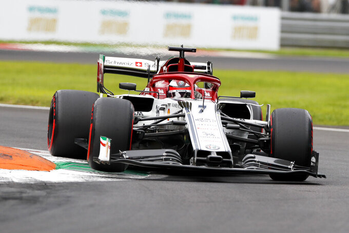 Alfa Romeo driver Kimi Raikkonen of Finland steers his car during the third free practice at the Monza racetrack, in Monza, Italy , Saturday, Sept.7, 2019. The Formula one race will be held on Sunday. (AP Photo/Antonio Calanni)
