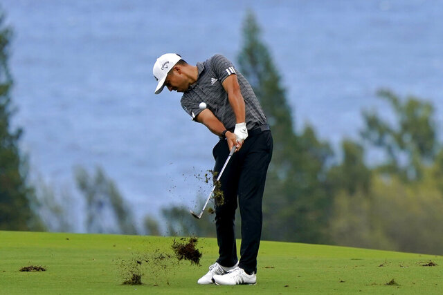 Xander Schauffele hits from the fourth fairway during third round of the Tournament of Champions golf event, Saturday, Jan. 4, 2020, at Kapalua Plantation Course in Kapalua, Hawaii. (AP Photo/Matt York)
