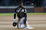 Chicago White Sox's Luis Robert reacts after he was tagging out by Chicago Cubs second baseman Nico Hoerner during the fourth inning of an exhibition baseball game at Wrigley Field in Chicago, Sunday, July 19, 2020. (AP Photo/Nam Y. Huh)