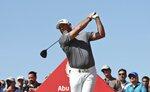 England's Lee Westwood tees off on the 2nd hole during the final round of the Abu Dhabi Championship golf tournament in Abu Dhabi, United Arab Emirates, Sunday, Jan. 19, 2020. (AP Photo/Kamran Jebreili)